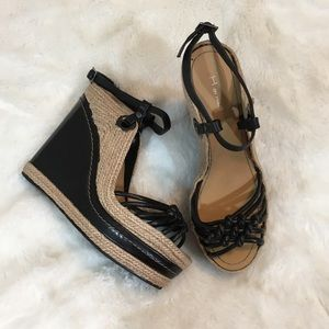 H by Halston Black & Tan Espadrille Wedges